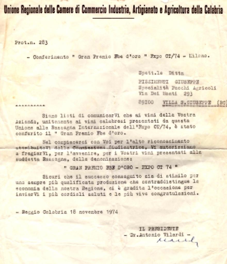 Gran Premio Ebe d'Oro - Expo CT 1974