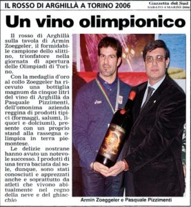 Un vino olimpionico (Gazzetta del Sud 4 marzo 2006)