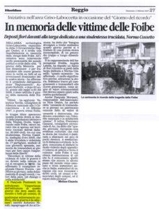 Pizzimenti: in memoria delle vittime delle Foibe