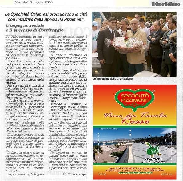 il quotidiano del sud mercoledi 3 maggio 2006