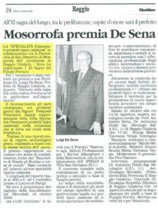 Mosorrofa premia il prefetto De Sena