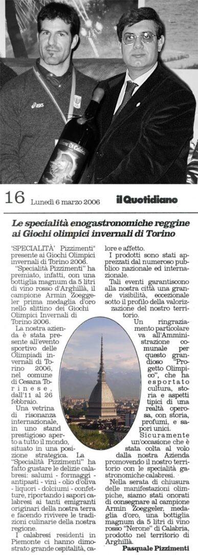 Specialità Reggine ai Giochi Olimpici invernali Torino 2006