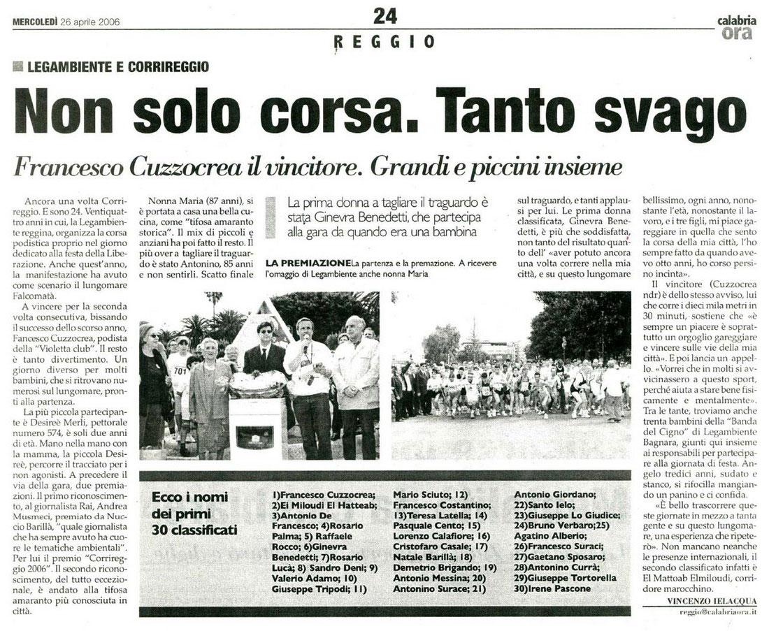Pizzimenti: Calabria Ora 26 aprile 2006