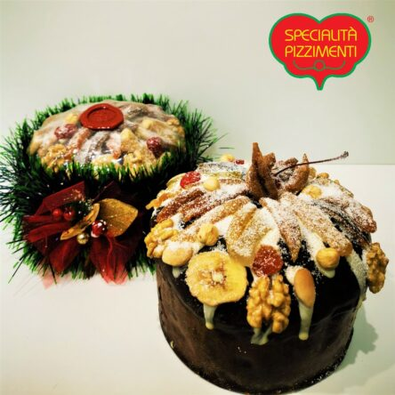 Panettone al Bergamotto decorato con frutta.